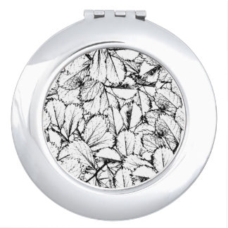 White Leaves Travel Mirror