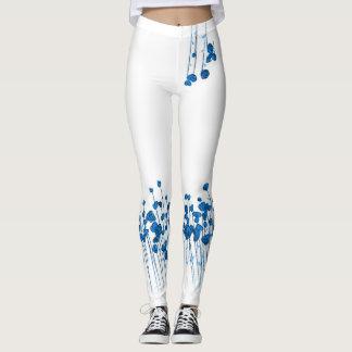 White Leggings Blue Poppy Border Yoga Wear