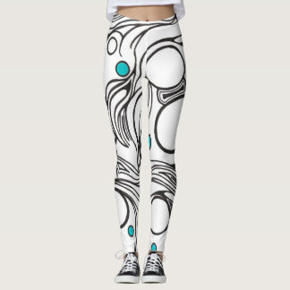 White leggings with black and turquoise design