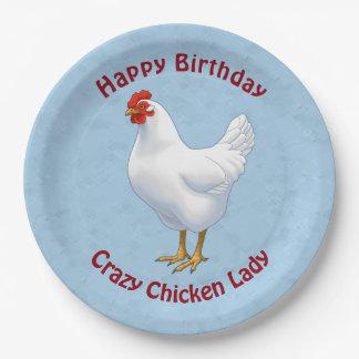 White Leghorn Chicken Hen Paper Plate