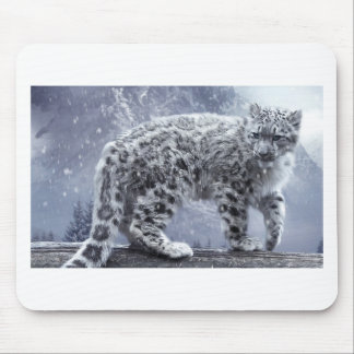 White Leopard On A Branch Mouse Pad