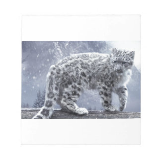 White Leopard On A Branch Notepad