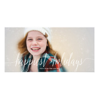 White Lettering Happiest Holidays Photo Card