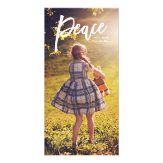 White Lettering Peace Christmas Photo Card
