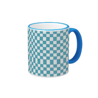 White & Light Blue Checkers Ringer Mug