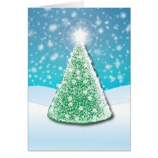 white light christmas tree card