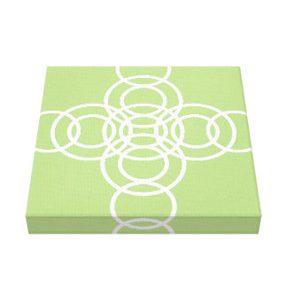 White & Light Green Trellis Stripe Wrapped Canvas Gallery Wrapped Canvas
