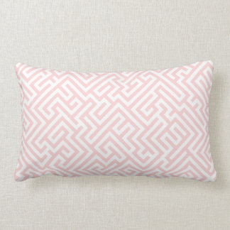 White & Light Pink Geometric Pattern Lumbar Pillow