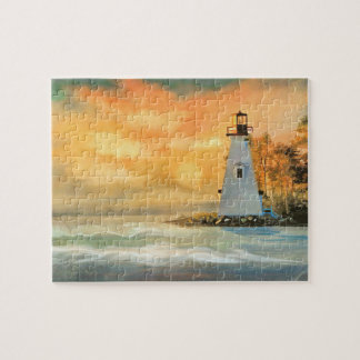 White Lighthouse and Sunset Puzzle