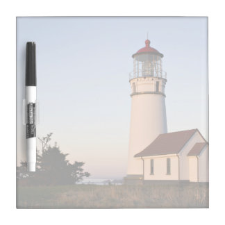 White lighthouse with attached building dry erase board