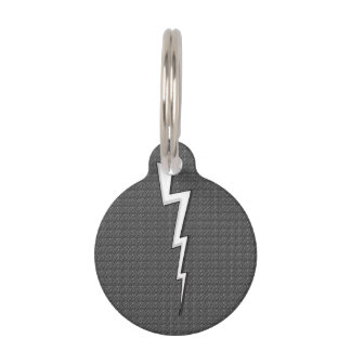 White Lightning Bolts on Faux-Texture Gray Pet Name Tag