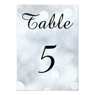 White Lights Snow Sparkle Table Number Wedding Card