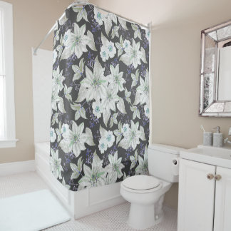 White lilies flower pattern - floral pattern shower curtain