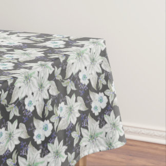 White lilies flower pattern - floral pattern tablecloth
