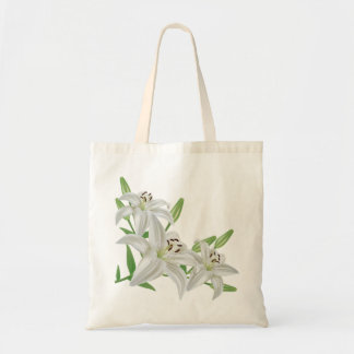 white lilies flowers canvas bag