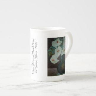 White Lilies in Black Vase Tea Cup