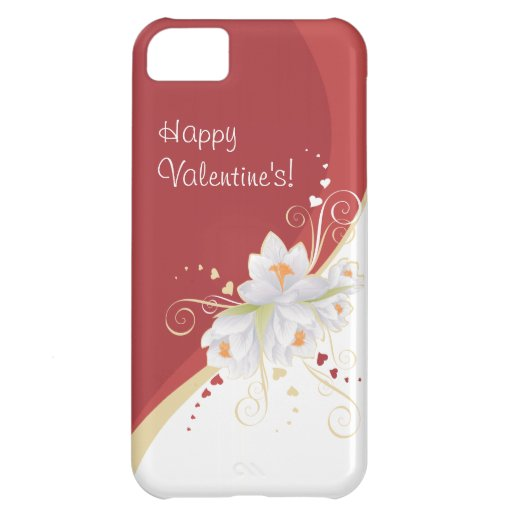White Lilies on Red Swirl Valentine's Cover For iPhone 5C