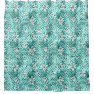 White Lilies on teal & aqua dots floral Shower Curtain