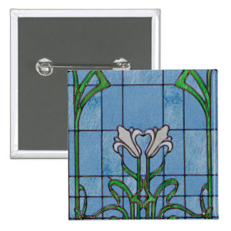 White Lilies Stained Glass Look 15 Cm Square Badge