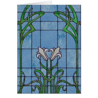 White Lilies Stained Glass Look Greeting Card