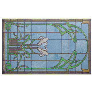 White Lilies Stained Glass Look Fabric