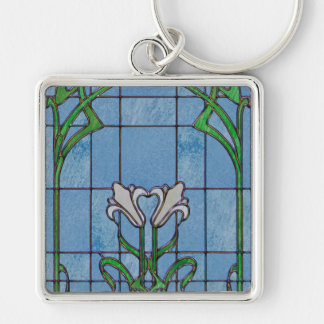 White Lilies Stained Glass Look Silver-Colored Square Key Ring