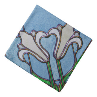 White Lilies Stained Glass Look Bandana