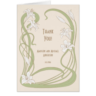 White Lilies Thank You Card
