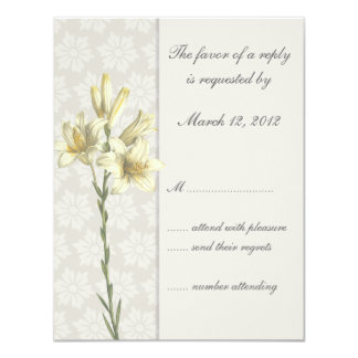 White Lillies Floral Wedding Invitation RSVP