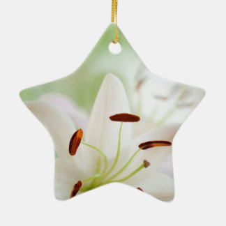 White Lily Flower Fully Open Ceramic Ornament