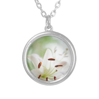 White Lily Flower Fully Open Silver Plated Necklace