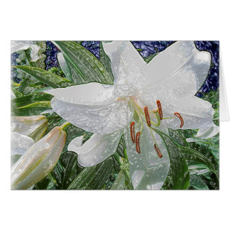 White Lily Garden near Water Card