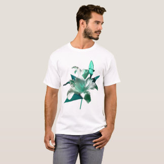 White Lily Green Leaves by DelynnAddams T-Shirt