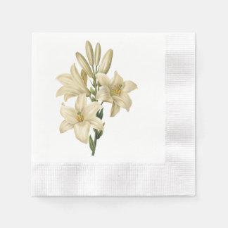 white lily(Lilium candidum) by Redouté Paper Serviettes