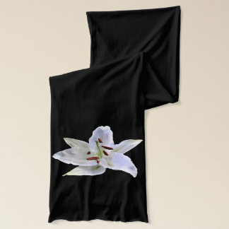 White Lily on a Black Scarf
