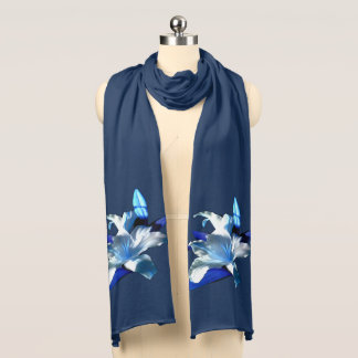 White Lily on a Blue Scarf