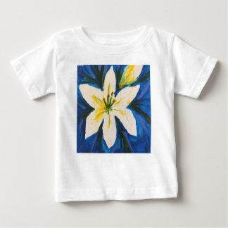 White Lily on Blue Collection by Jane Baby T-Shirt