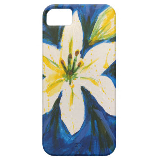 White Lily on Blue Collection by Jane iPhone 5 Case