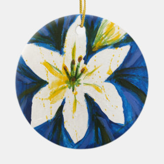 White Lily on Blue Collection by Jane Round Ceramic Decoration