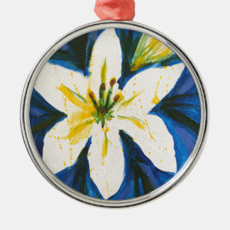 White Lily on Blue Collection by Jane Silver-Colored Round Decoration