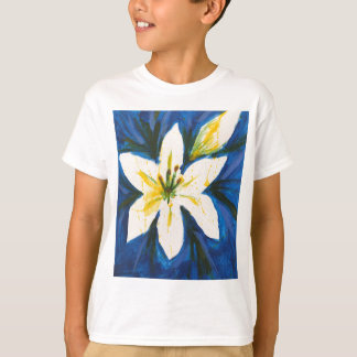 White Lily on Blue Collection by Jane T-Shirt