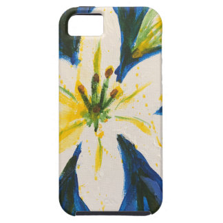 White Lily on Blue Collection by Jane Tough iPhone 5 Case