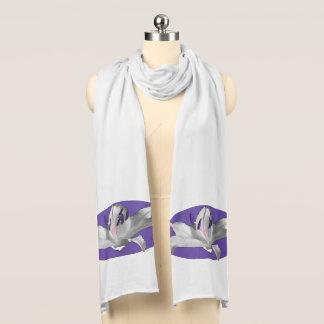 White Lily Purple Motif shown on White Scarf