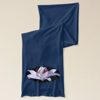 White Lily shown on Navy Scarf