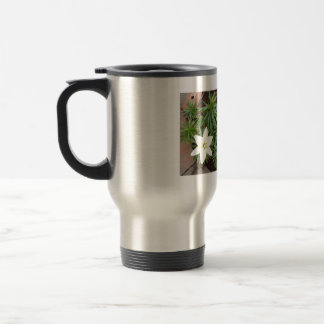 White Lily Stainless Steel Travel Mug