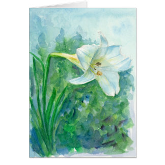 White Lily Watercolor Flower Happy Easter Card