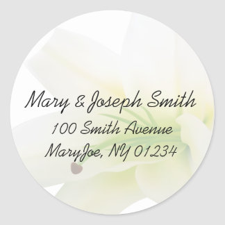 White Lily Wedding Adress Label Stickers
