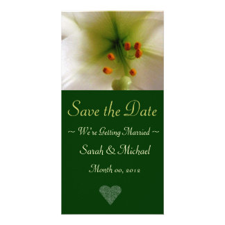 White Lily Wedding Announcement Card Personalized Photo Card