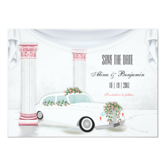 White Limo Columns Pink Flowers Save the Date 11 Cm X 16 Cm Invitation Card