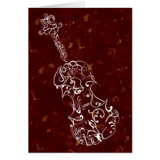 White Line Violin Drawing on Deep Red Background Card